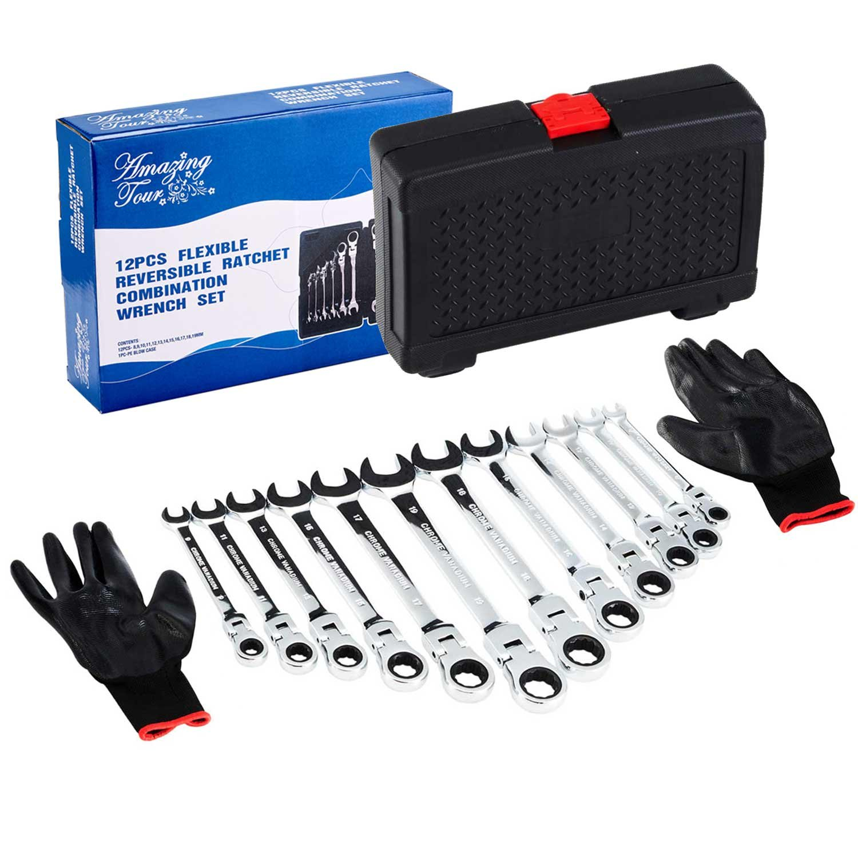 12 Pcs 8mm-19mm Flex-Head Ratcheting Wrench Tool Set Combination Spanners Flexible Amazing Tour