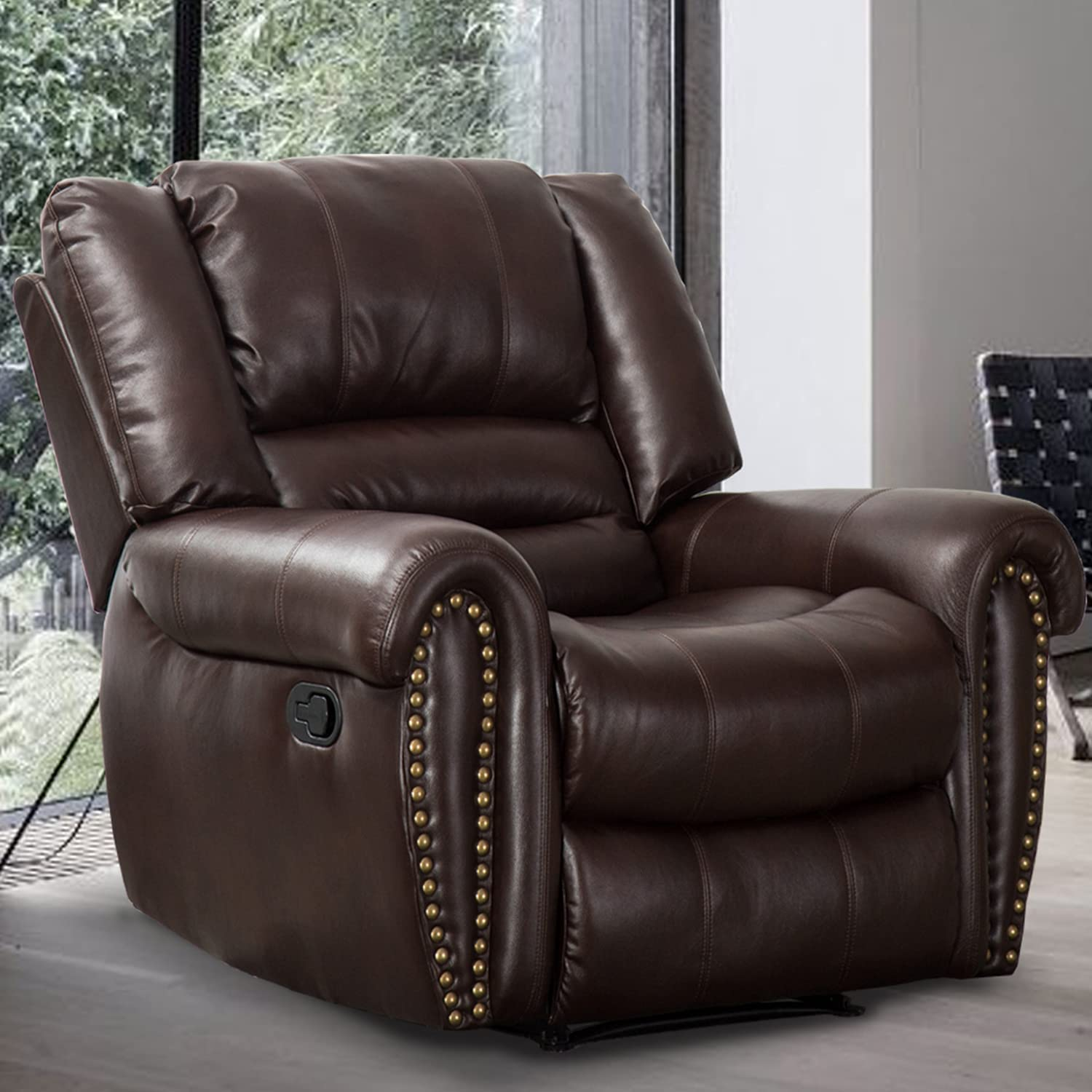 CANMOV Recliner Chair Breathable PU Leather, Classic and Traditional Manual Recliner Chair with Arms and Back Single Sofa for Living Room, Brown