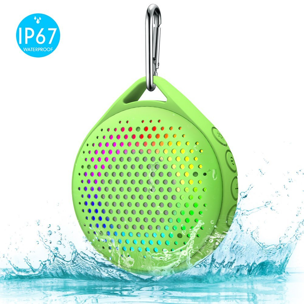 Shower Speaker - AVWOO IP67 Waterproof Bluetooth Speaker, Portable Bluetooth Speaker with Enhanced Bass and Built-in Mic, Mini Bluetooth Speaker with Compact Size for Home Outdoor Travel (Black) A021-BK