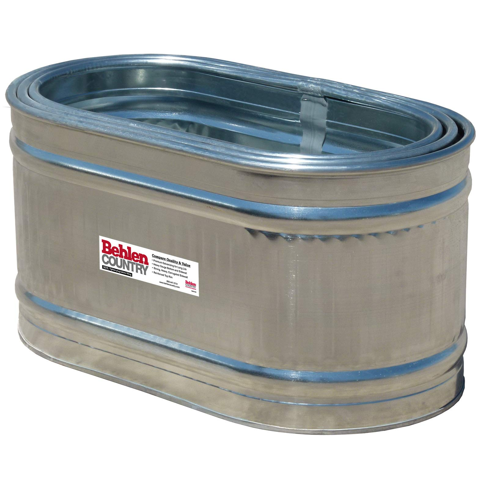 Behlen Country 50130028K 2' x 2' x 4' Round-End Galvanized Steel Stock Tank Nested Bundle, Approximately 90 Gallon (Pack of 3 Tanks)