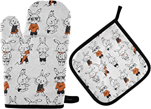 DOMIKING Oven Mitts Pot Holders Sets - Funny Cartoon Bunnies Cooking Gloves Heat Resistant Hot Pads Non-Slip Potholders for Kitchen BBQ Cooking