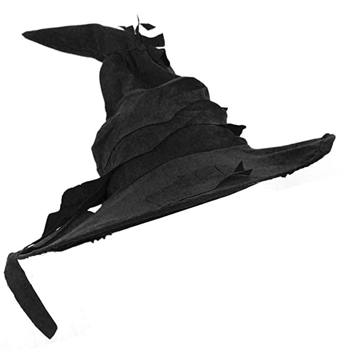 a5f92cdc3f6 WIZARD HAT FANCY DRESS ACCESSORY BLACK SUEDE FEEL POINTED WITCHES HAT BOOK  FILM CHARACTER  Amazon.co.uk  Toys   Games