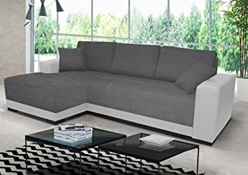 Abakus Direct   Milan Corner Sofa Bed with Underneath Storage in Grey and  White or Grey and Black (White Left)