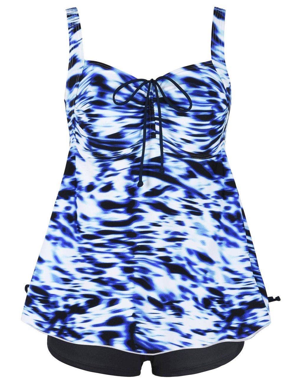 FirpearlレディースペイズリープリントPin UpプラスサイズタンキニSwimdress水着 B079Q48N61 US 26 Blue White Swirl