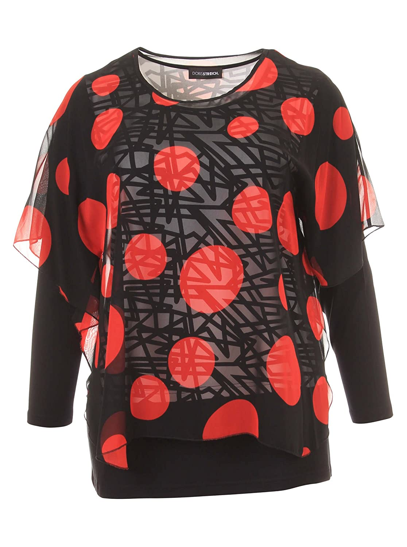 Langarmshirt im Lagen-Look mit Muster-Mix in rot/schwarz in Übergrößen (42, 44, 46, 48, 50, 52) von Doris Streich