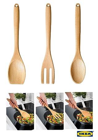 Compra IKEA rort - Cuchara, Tenedor para uso diario estándar de calidad herramienta de utensilios de cocina de madera de haya sólida Juego de tenedor, ...