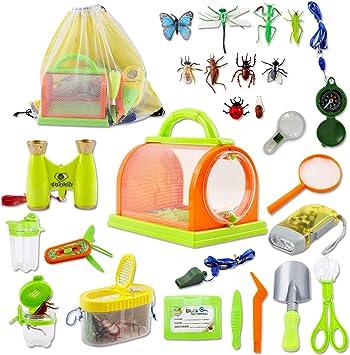 deAO Juego de Exploración Conjunto de Aventurero Incluye Mochila, Kit Atrapa Insectos y Accesorios Actividad Infantil de Ciencias Naturales (26 Piezas): Amazon.es: Juguetes y juegos