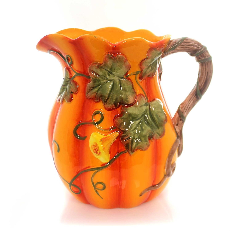 Pumpkin Orange Porcelain Drink Pitcher Fall Autumn