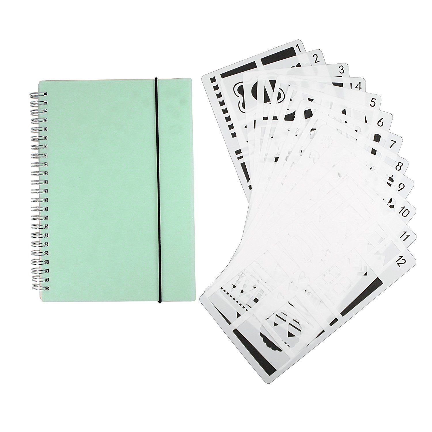 Asery 12Pcs Bullet Journal Stencil Set With Dot Grid Notebook For Journal/Notebook/Diary/Card/Scrapbooking Scrapbook Diy Drawing Template Stencil 4336890648