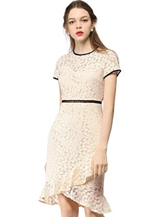 80173665e202 Allegra K Women's Elegant Short Sleeve Contrast Trim Ruffled Floral Lace  Dress Beige XS (US