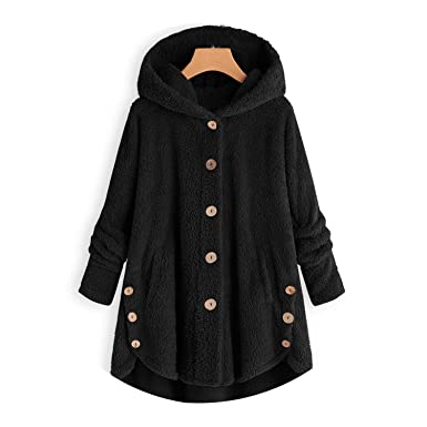 Women Jacket Winter Warm Hoodie Button Loose Long Chamarra ...