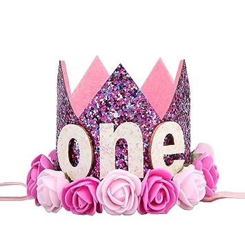 LUOEM Bebé Primer cumpleaños Sombrero bebé Princesa Tiara ...