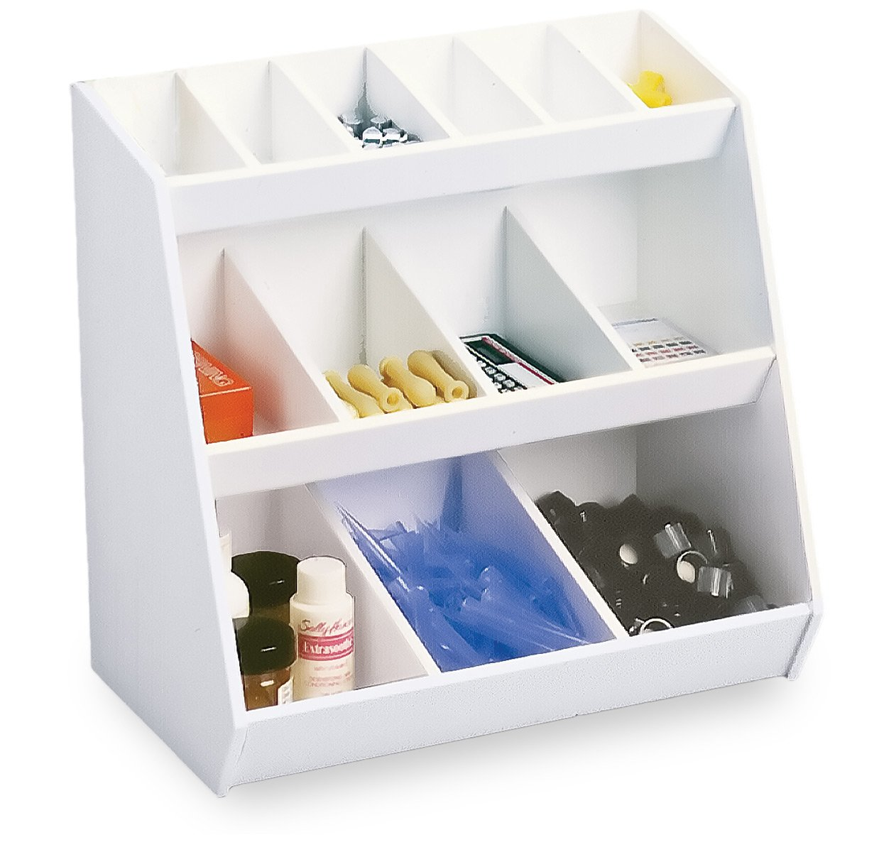 TrippNT 50147 White PVC Plastic Lab Storage Bin with 13 Fixed Compartments, 12'' Width x 12'' Height x 7.25'' Depth