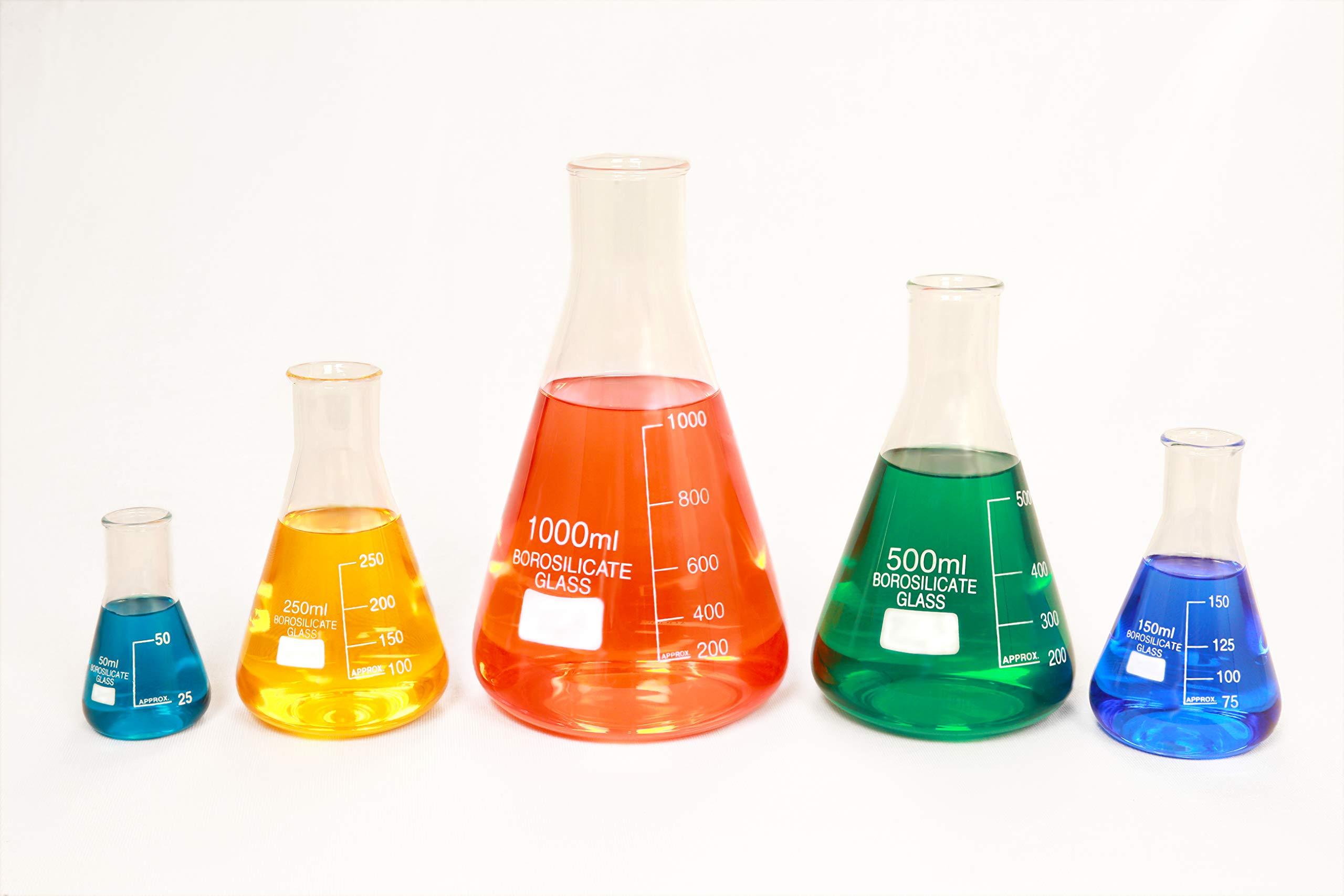 Glass Erlenmeyer Flask Set of 5 Borosilicate Thick Low Form - 50ml, 150ml,  250ml, 500ml, 1000ml