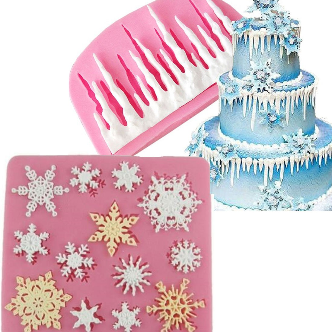 Anyana 3D Christmas Icicles mold cold ice Silicone Cupcake Baking Molds mini Snowflake Fondant molds Cake Decorating Tools Gumpaste Chocolate Candy Clay Moulds Non stick easy to use
