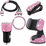 5 Pieces Bling Car Accessories Set, Includes Car Charging Cable, Car Phone Mount Holder, Diamond Glasses Holders, Car Dual Po