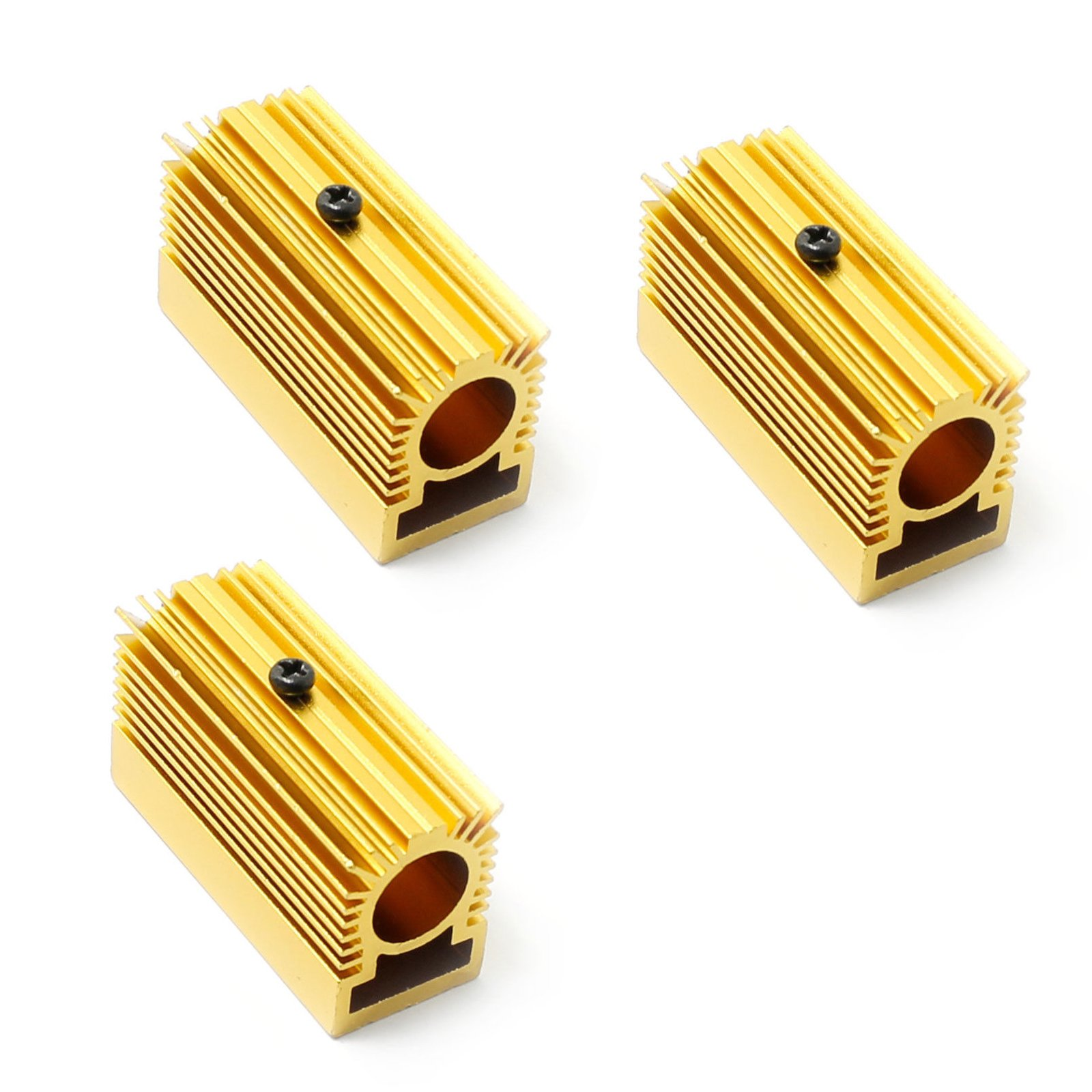 Golden Aluminium Cooling Heat Sink for 12mm Laser Diode Modules 20x27x50mm(Pack of 3)