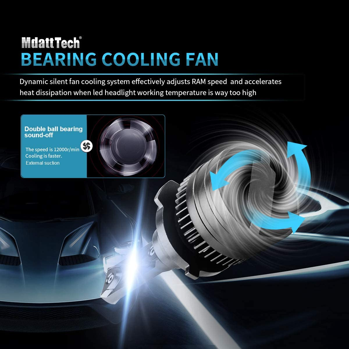 360/° Adjustable 1:1 All in One Design Mdatt H7 LED Headlight Bulbs IP68 -Silent Fan Hight Power- Fit For High//Low Beam Fog Light Conversion Kit Brighter and Focus 13500Lm 6500K 100W Top Chips