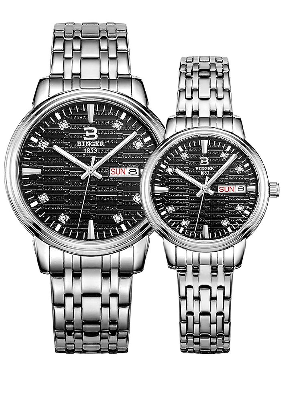 Binger Paar-Quarz-Uhr mit schwarzem Strukturzifferblatt und Edelstahl-Armband fÜr Frauen der MÄnner (Schwarz)
