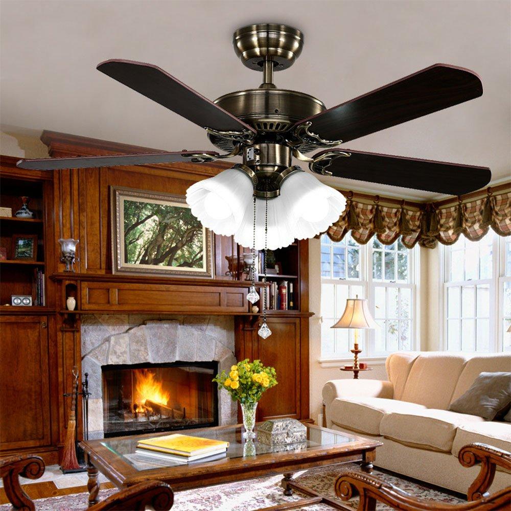 Huston Fan Modern Simple 42-inch Ceiling Fan Lamp Living Room Home LED Llights Ceiling Fan Chandelier Bronze Fan by Huston Fan (Image #2)