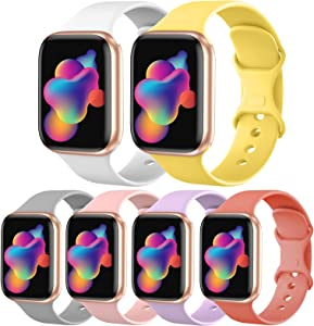 [6 Pack] OriBear Sport Band Compatible with Apple Watch Band 40mm 38mm, Durable Soft Silicone Replacement Strap for iWatch Band Series 5/4/3/2/1 for Women Men Kids S/M Pack N