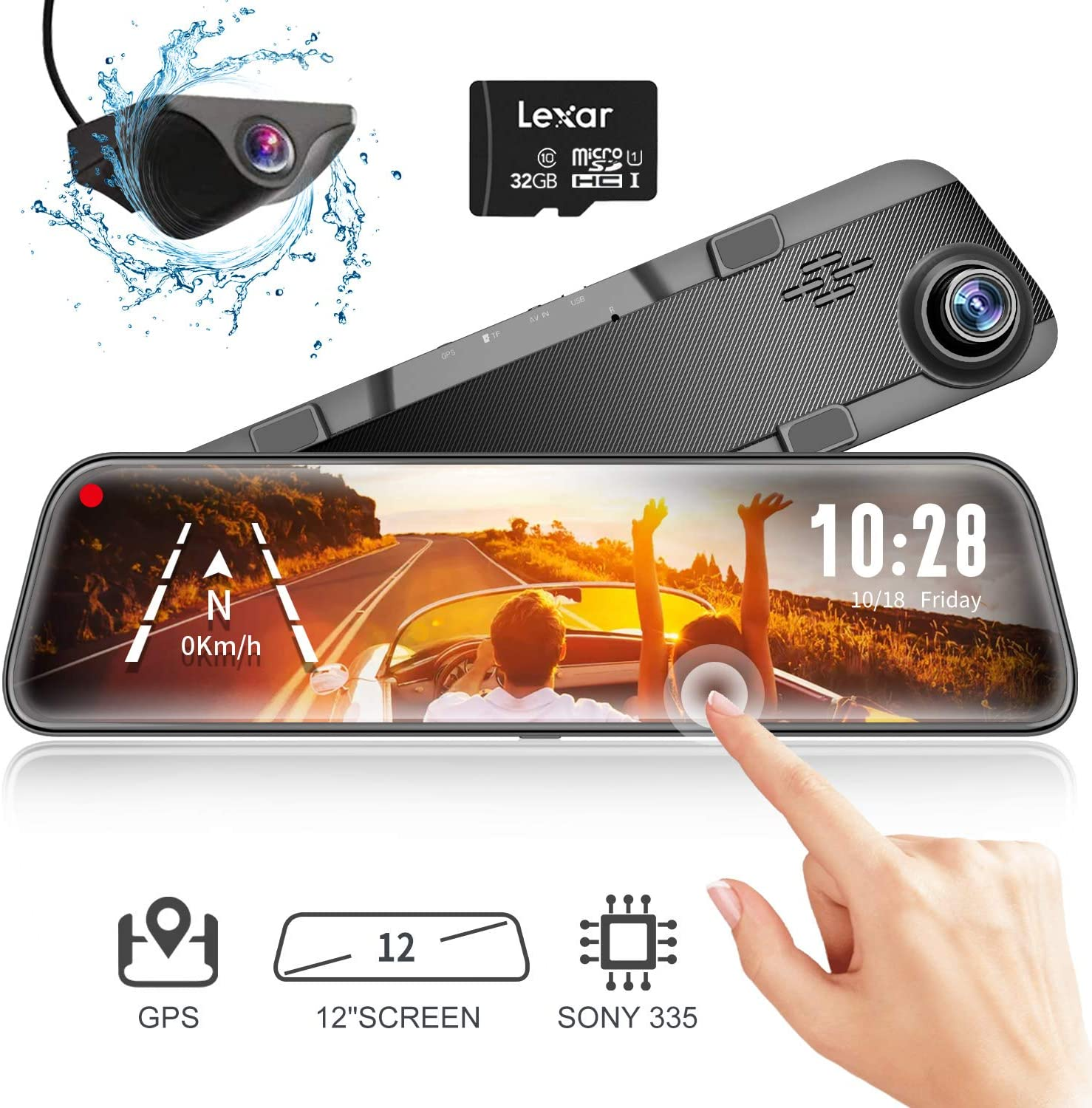 "WOLFBOX Mirror Dash Cam Backup Camera,12"" IPS Full Touch Screen,1296P HD Dual Lens Smart Rear View Mirror for Cars & Trucks, Sony IMX335 HDR Stream Media with Night Vision & LDWS, Free 32GB TF Card"