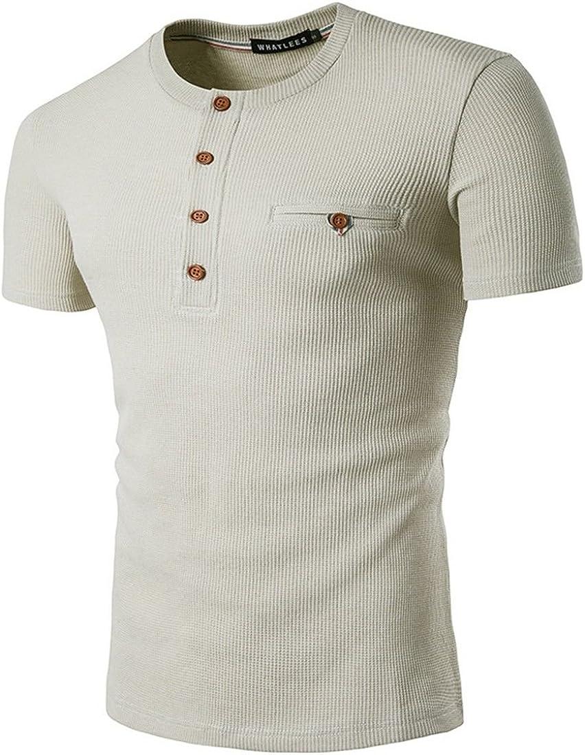 AiRobin-Hombre Casual Diario Salir Camiseta de Manga Corta de algodón de Color Liso con Cuello Redondo: Amazon.es: Ropa y accesorios