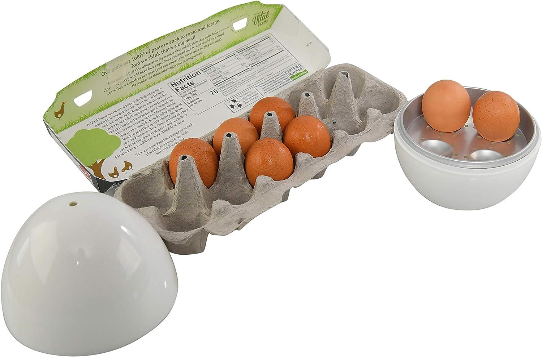 HOME-X Jumbo Microwave Egg Boiler with Lid, Holds 4 Eggs