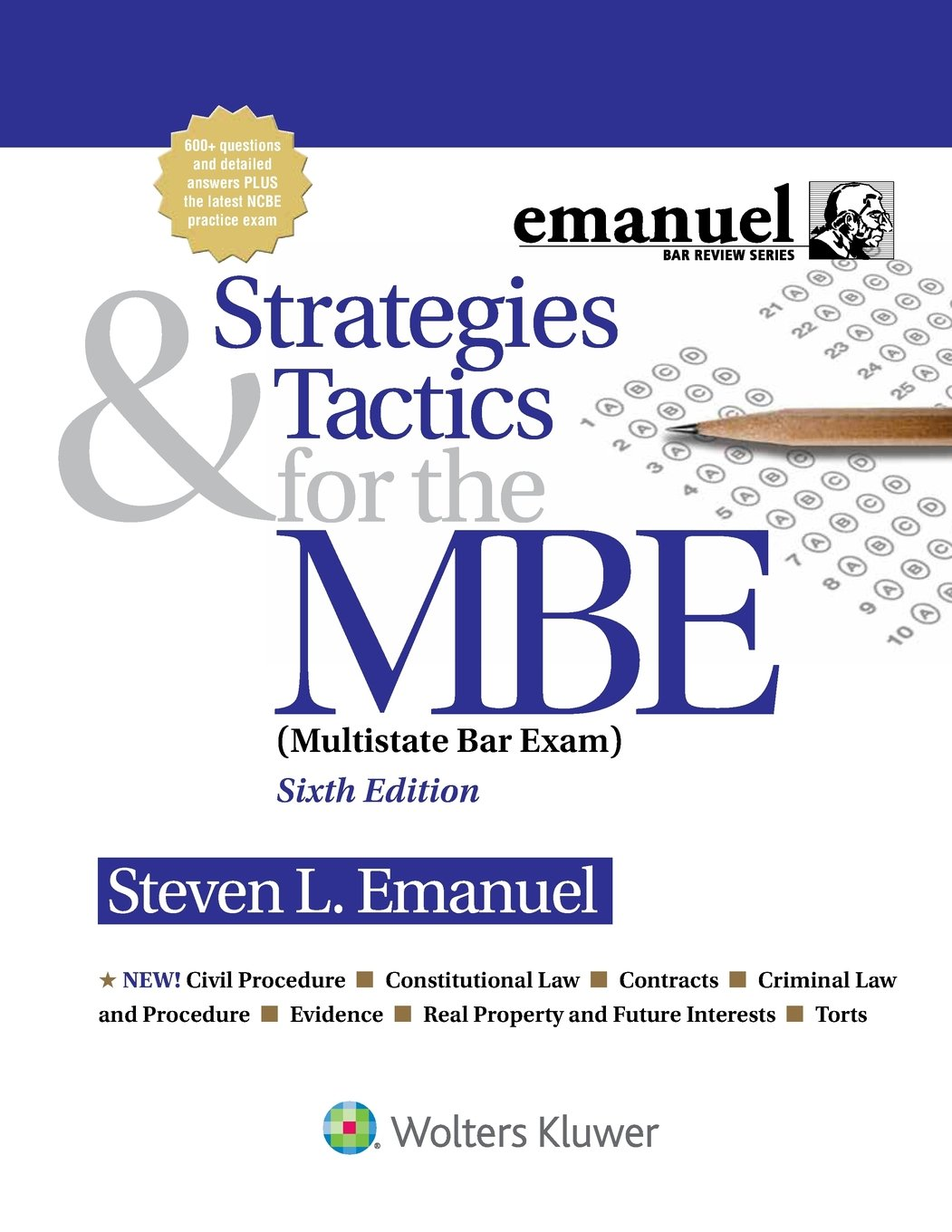 Strategies & Tactics for the MBE (Emanuel Bar Review) by Wolters Kluwer