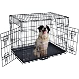 """Olymstore 36"""" Pet Kennel Cat Dog Folding Steel Crate with Plastic Tray Animal Playpen Wire Metal Cage Black"""