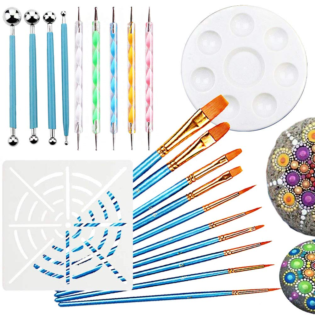 21PCS Mandala Dotting Tools for Painting - Rock Paint Kit, Nail Art, Polymer Clay DIY Embossing Set - 4 Metal Modelling Ball Tools, 5 Stylus Dot Pen, 10 Paint Brush, 1 Mandala Stencil and 1 Tray Ewong