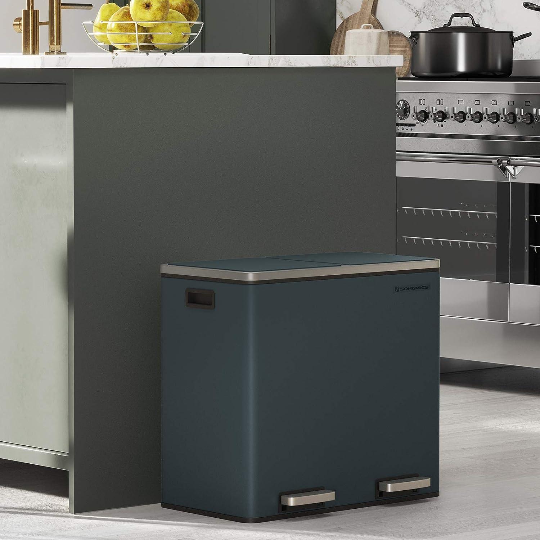 SONGMICS Basurero Reciclaje 2 x 24L Negro LTB48BK Tapa de Mecanismo Cubos Interiores de Pl/ástico y Asas de Transporte Acero Cubo de Basura para Cocina con 2 cubetas con Pedales