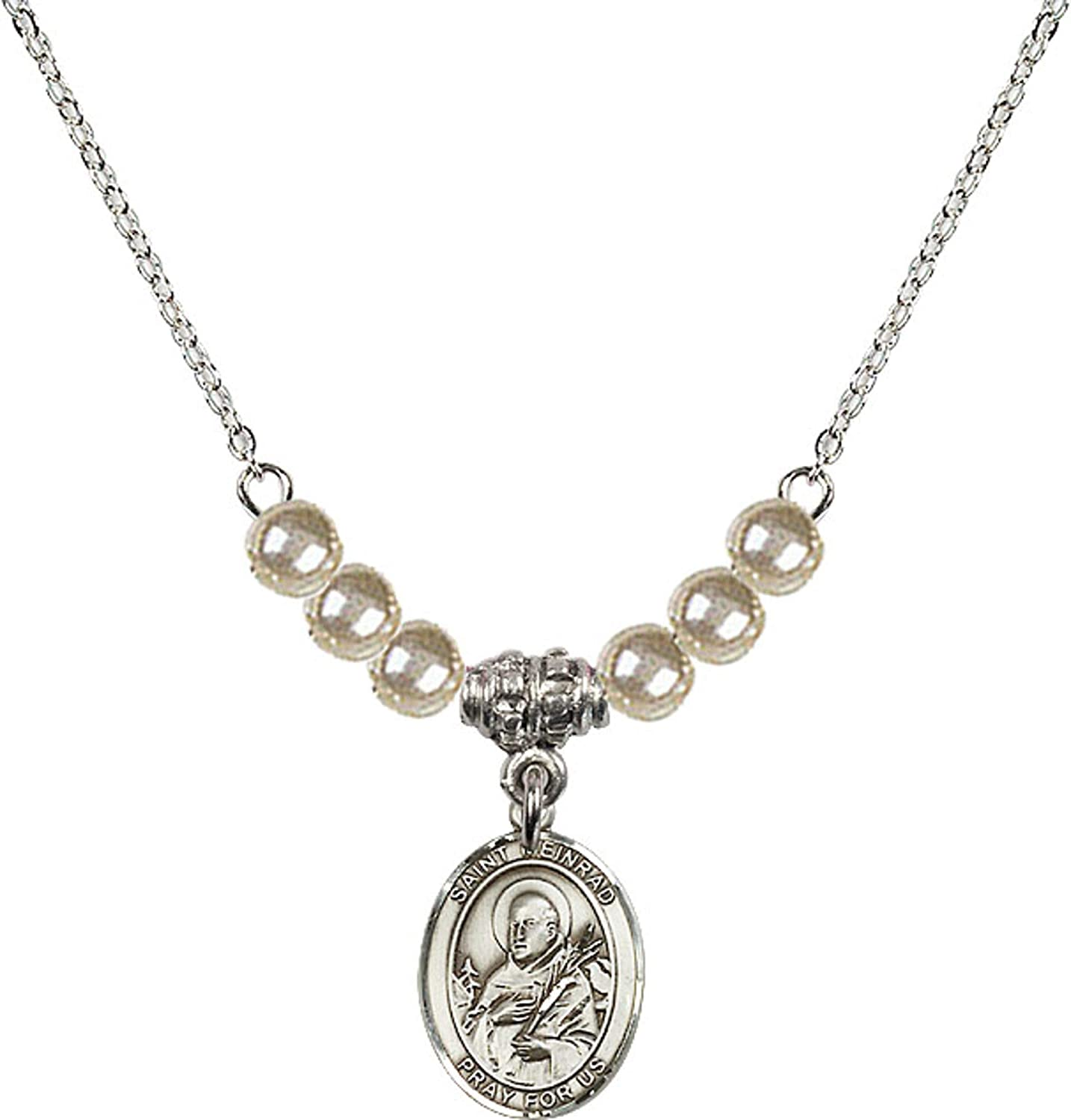 Bonyak Jewelry 18 Inch Rhodium Plated Necklace w// 4mm Faux-Pearl Beads and Saint Meinrad of Einsiedeln Charm