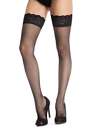 88ec1b38ad5 Amoretu Womens Back Seamed Fishnet Thigh High Stockings with Silicone Lace  Top Black