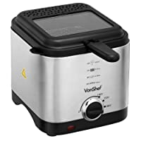 VonShef Compact 1.5L Stainless Steel Deep Fat Fryer with Observation Window - Easy Clean