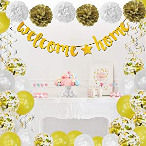 Welcome Home Banner Decorations, 38 Pcs, Gold, Welcome Home Sign, Swirl, Balloon, Great for Home Party Decorations, Family Party Supplies, Deployment Returning Back Party Decor