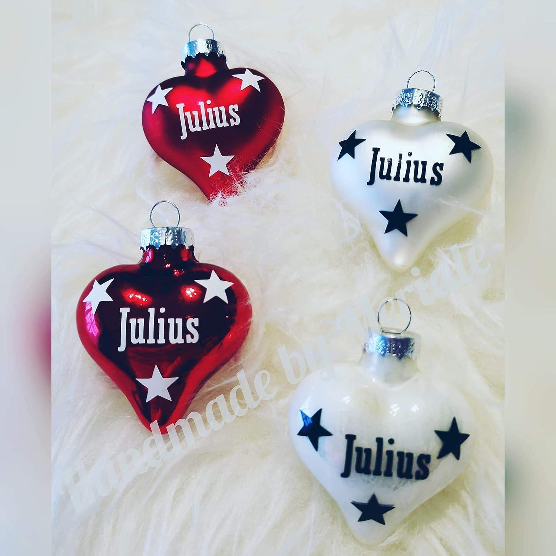 *ANGEBOT* 4 Weihnachtskugeln in Herzform personalisiert mit Namen