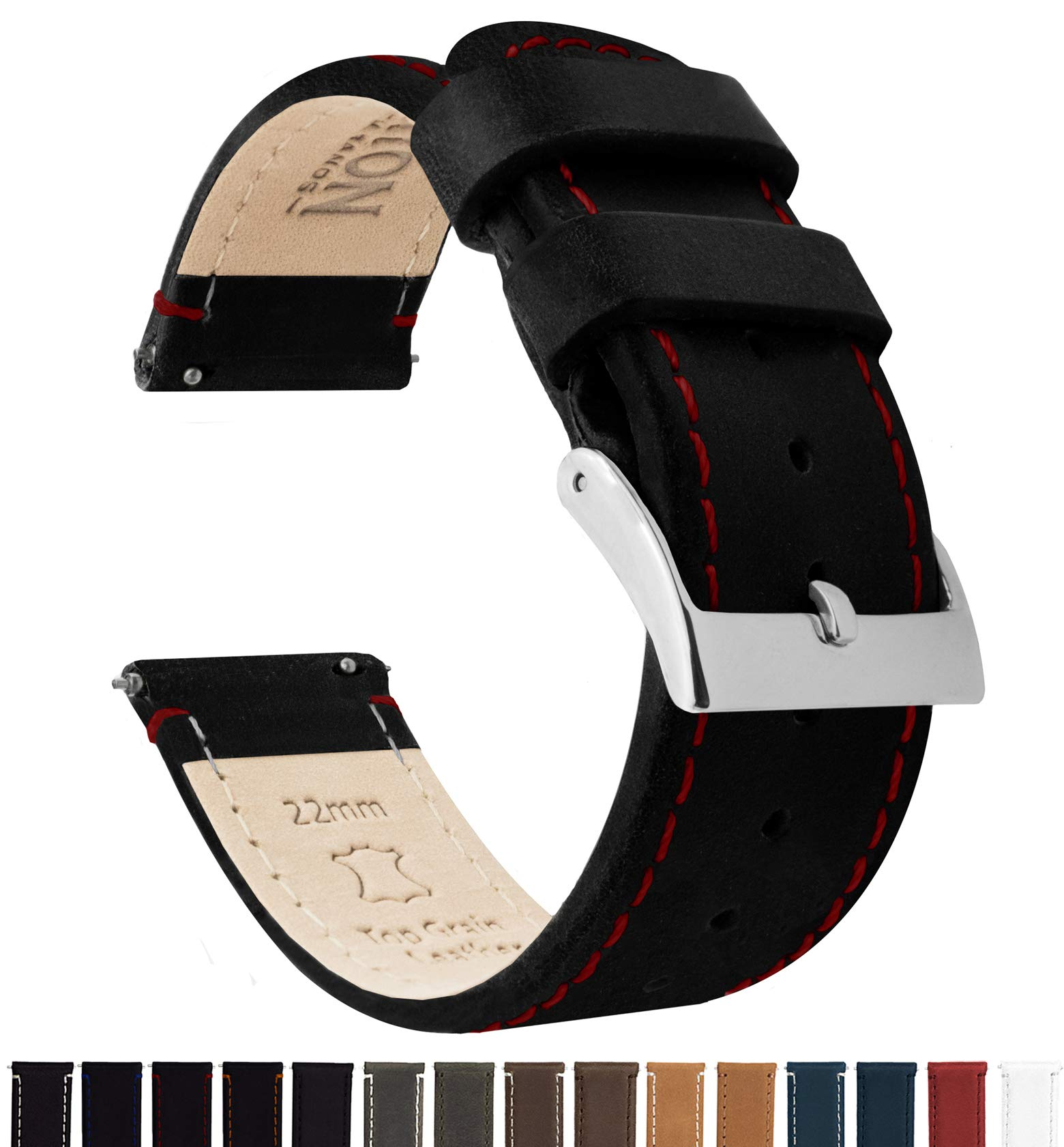 Barton Quick Release - Top Grain Leather Watch Band Strap - Choice of Width - 16mm, 18mm, 19mm, 20mm, 21mm 22mm, 23mm or 24mm - Black/Red Stitching 22mm by Barton Watch Bands