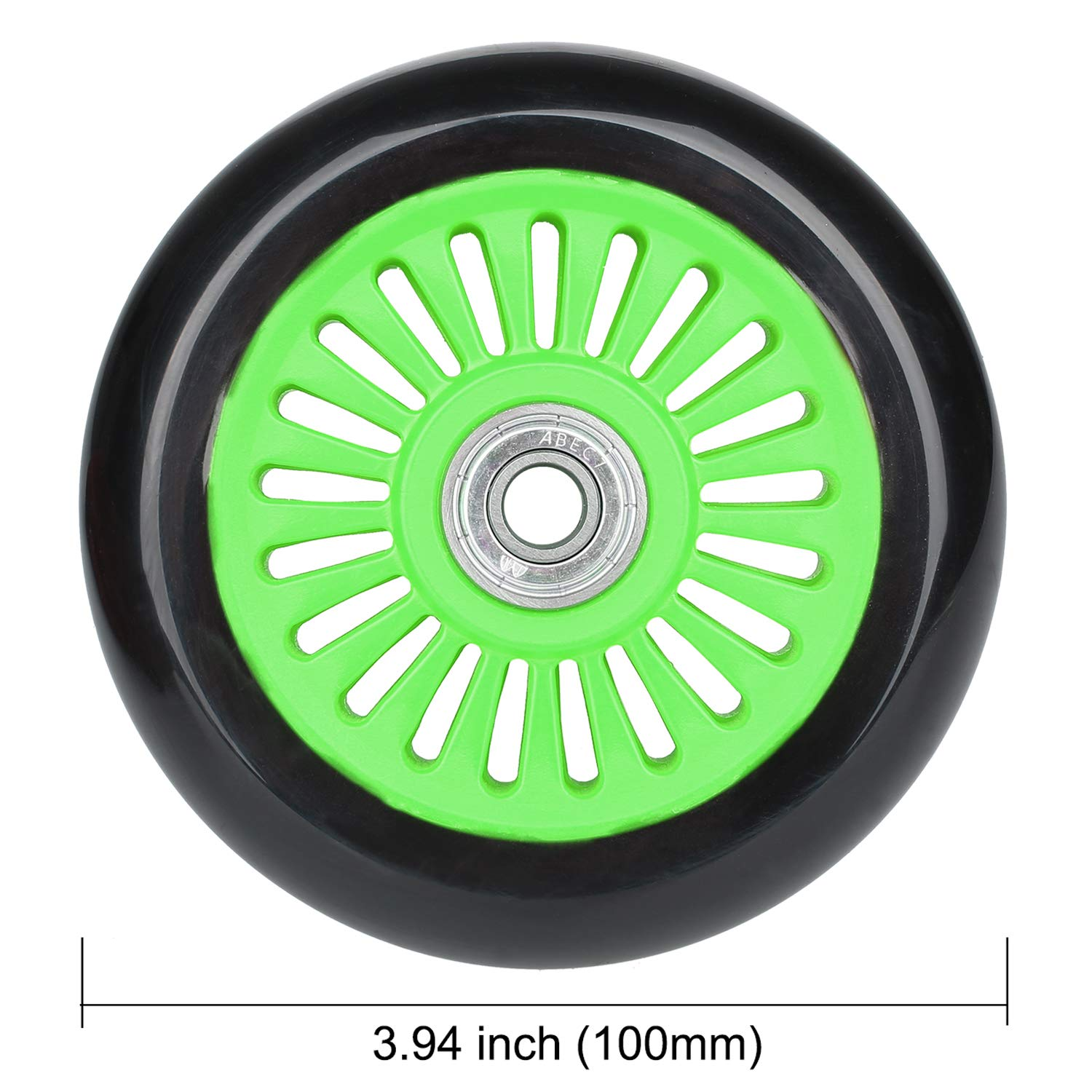 VOKUL 2pcs 100mm Replacement Pro Scooter Wheels with ABEC-7 Bearing Complete 2pcs