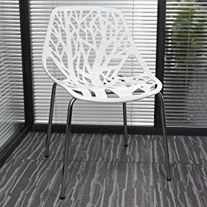 JAXSUNNY Modern Set of 4 Creative Modern Birds Nest Dining Side Chairs Stackable Chairs for Indoor,Ourdoor,Kitchen,Living Room,Hall Comfortable Seat and Stable Metal Base, Nonslip Foot Pads, White and