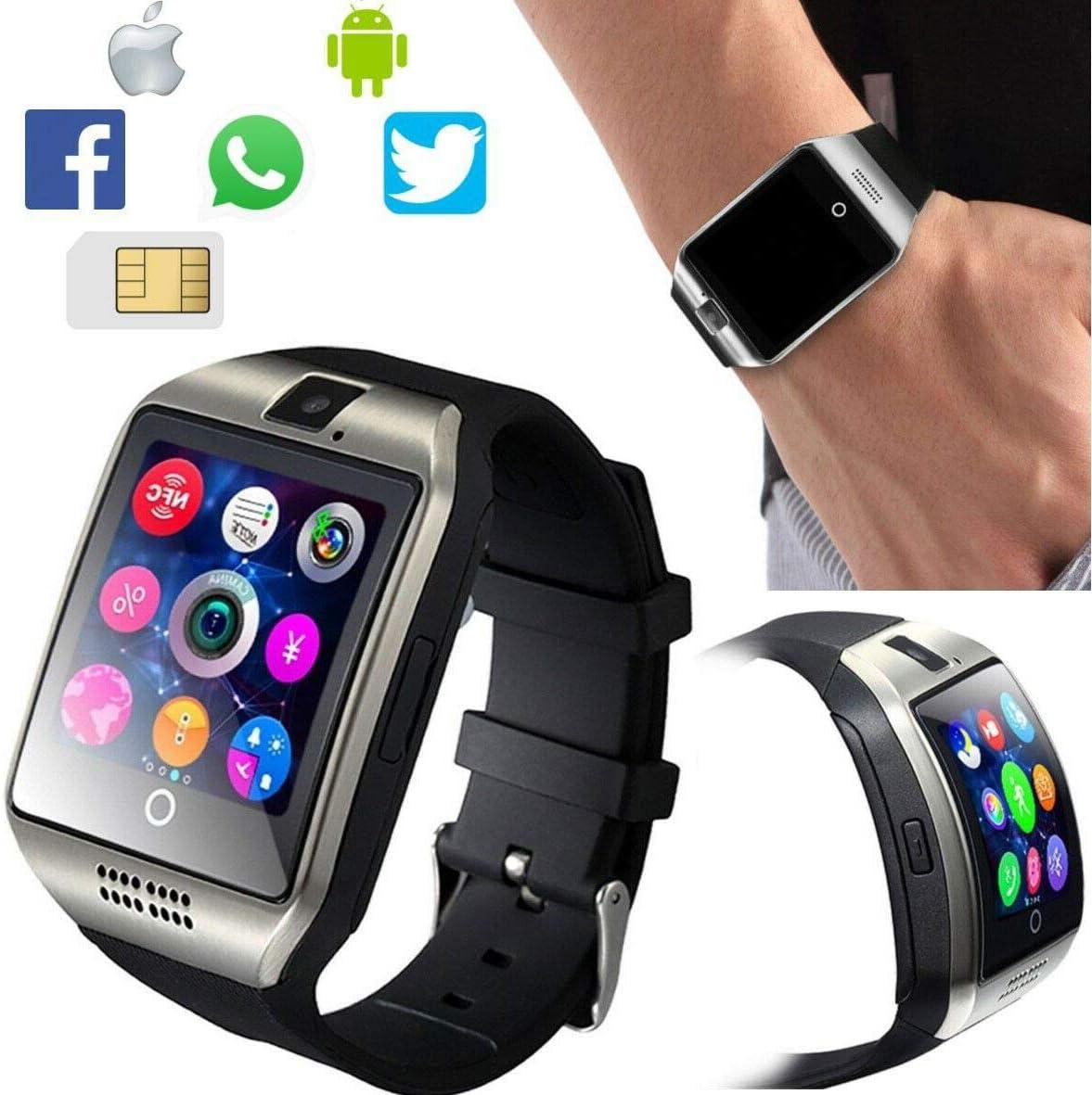 Dobo Q18 - Reloj inteligente Bluetooth impermeable para smartphone Android iOS, correa negra, control táctil, alerta de llamadas, SMS, pantalla táctil, sincronización de llamadas, notificaciones, aplicaciones de cámara, sistema antipérdida, compatible con