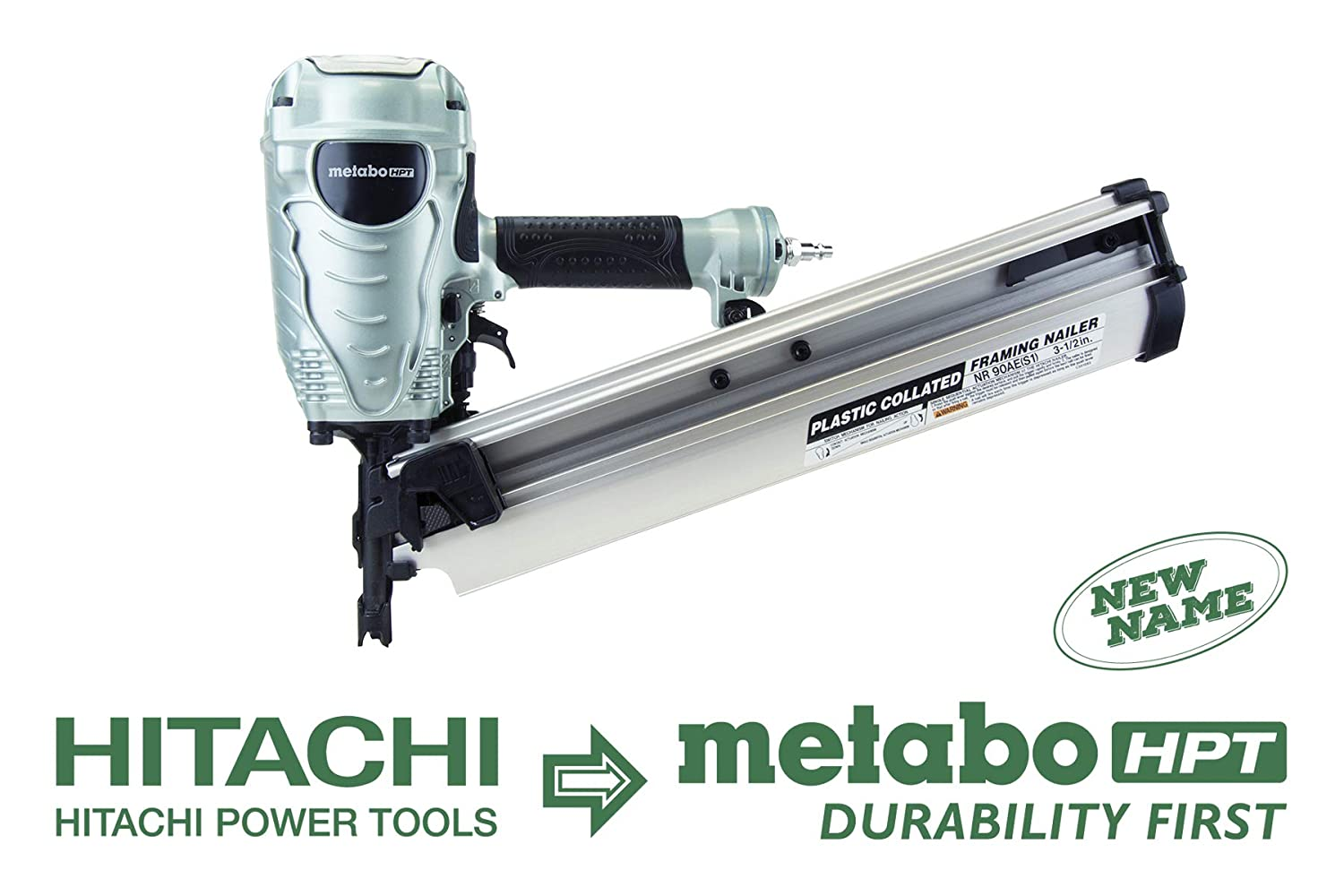 Metabo HPT NR90AES1 21 Degree Pneumatic Framing Nailer, The Preferred Pro Brand of Pneumatic Nailers, Lightweight and Well-balanced, Easy Depth Adjustment, Accepts 2 to 3-1 2 Collated Framing Nails