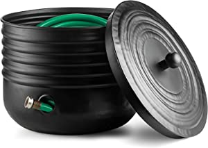 Ribbed Steel Garden Hose Pot Holder with Lid Black 16 x 12 Inches Updated for November 2020