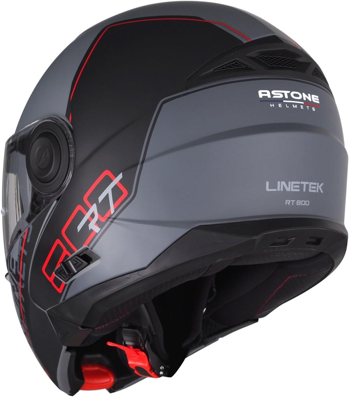 Casque en polycarbonate Casque polyvalent route et ville RT800 graphic exclusive LINETEK Casque de moto modulable red//grey XS Astone Helmets Casque de moto 2 en 1