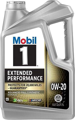 Mobil 1 Extended Performance Full Synthetic Motor Oil 0W-20, 5 Quart (120903)