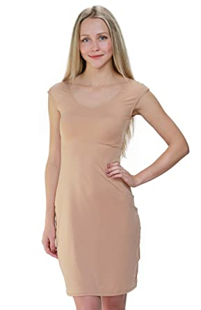61aa2719d5629 Bradshaw & Palmer The Underall Cap Sleeve Knee Length Nude Dress Slip  (Extra Small)