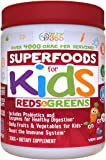 Organic Superfoods For Kids (60-Day Supply): Red & Greens, Vitamins & Minerals, Doctor-Formulated Organic, Gluten Free, Vegan, Whole Food Powder – Fruits, Veggies, Probiotics & Digestive Enzymes.