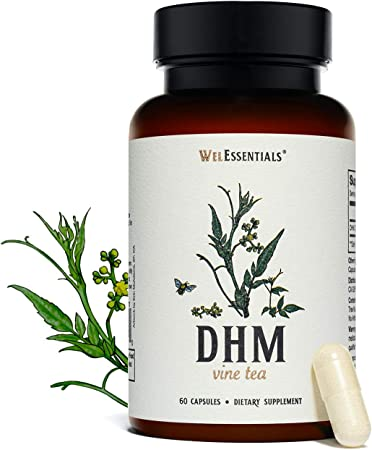 WelEssentials 100% Pure Dihydromyricetin DHM Vine Tea Moyeam - 500mg x 30 Servings - Max Strength Dietary Supplement for Immune and Liver System Support - Vegan - 60 Capsules