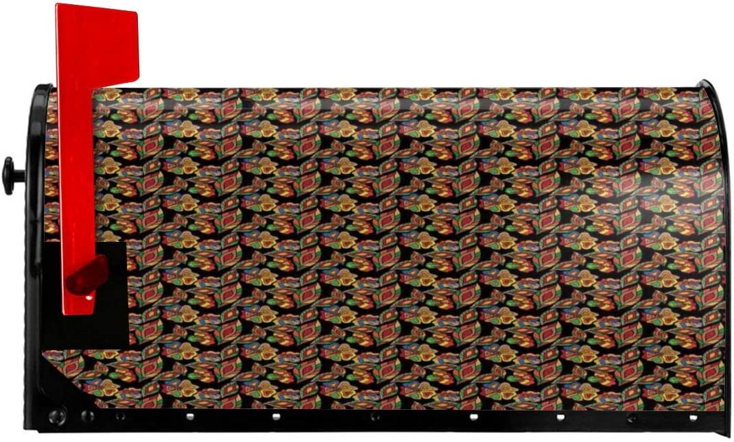 """Magnetic Mailbox Cover - 18""""W x 21""""H, Exotic Autumn Garden Motifs Foliage in Lively Colors Artful Nature Doodle Print,Mailbox Wraps Post Letter Box Cover"""