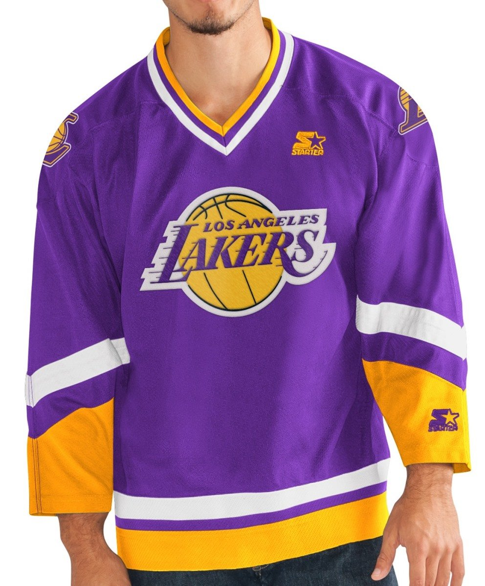 6553369a4b9 Amazon.com   STARTER Los Angeles Lakers NBA Men s Crossover Hockey Jersey    Sports   Outdoors